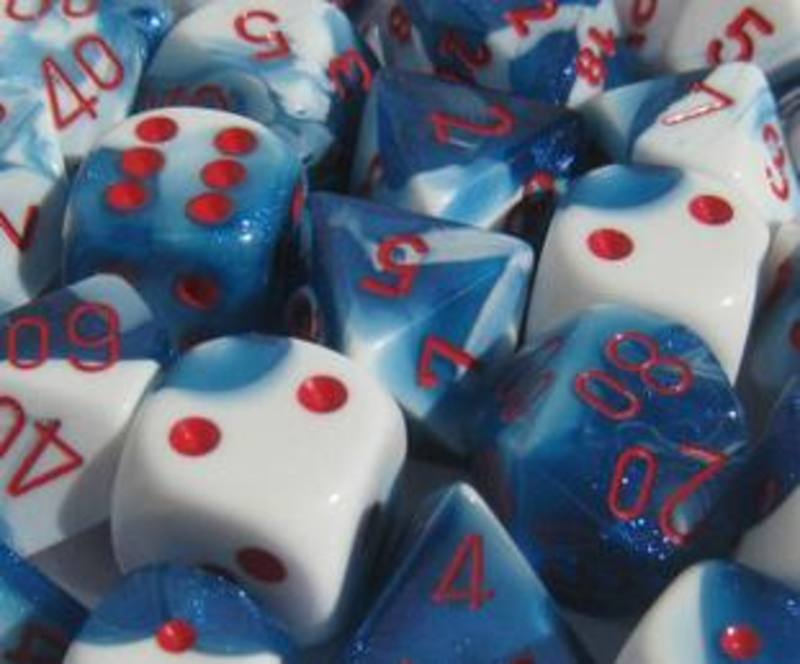 Gemini Astral Blue-White w/Red Polyhedral 7-Die Set