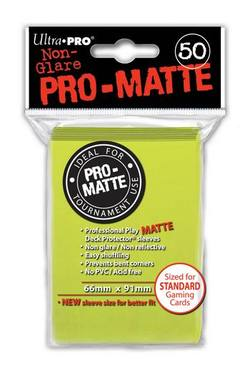 Buy Ultra Pro Pro-Matte Bright Yellow (50CT) Regular Size Sleeves in AU New Zealand.