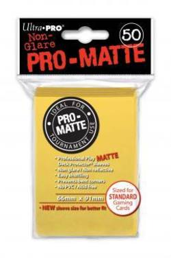 Buy Ultra Pro Pro-Matte Yellow (50CT) Regular Size Sleeves in NZ New Zealand.