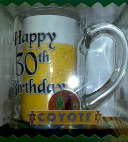 Buy Coyote Happy 30th Birthday Glass Stein in AU New Zealand.