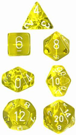 Buy Translucent Yellow w/White Polyhedral 7-Die Set in AU New Zealand.