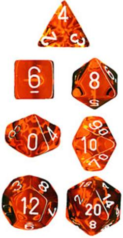Buy Translucent Orange w/White Polyhedral 7-Die Set in AU New Zealand.
