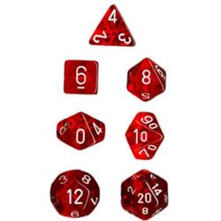 Buy Translucent Red w/White Polyhedral 7-Die Set in AU New Zealand.