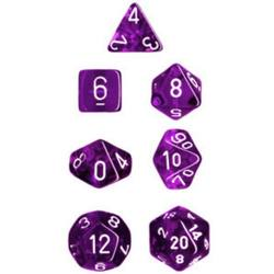 Buy Translucent Purple w/White Polyhedral 7-Die Set in AU New Zealand.