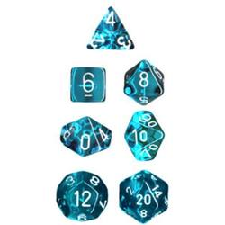 Buy Translucent Teal w/White Polyhedral 7-Die Set in AU New Zealand.