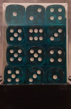 Buy Translucent D6 12mm Teal/white  (36CT) in AU New Zealand.