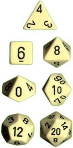 Buy Opaque Ivory w/black Polyhedral 7-Die Set in AU New Zealand.