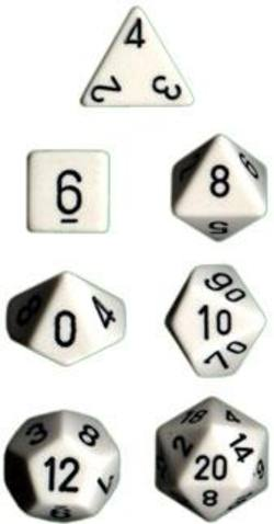 Buy Opaque White w black Polyhedral 7-Die Set in AU New Zealand.