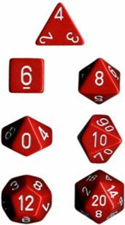 Buy Opaque Red w/white Polyhedral 7-Die Set in AU New Zealand.
