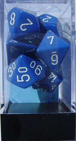 Buy Opaque Blue w/white Polyhedral 7-Die Set in AU New Zealand.