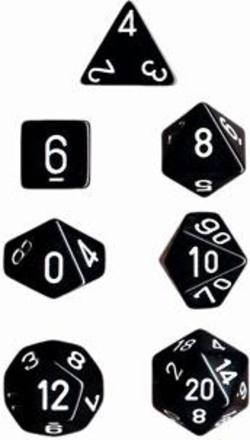 Buy Opaque Black w/white Polyhedral 7-Die Set in AU New Zealand.