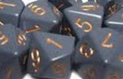 Buy Opaque Dark Grey w/copper Polyhedral 7-Die Set in AU New Zealand.