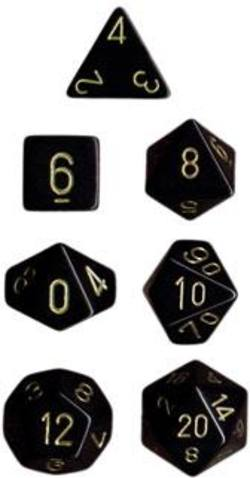 Buy Opaque Black w/gold Polyhedral 7-Die Set in AU New Zealand.