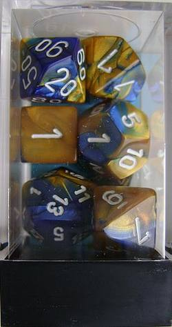 Buy Gemini Blue-Gold w/white Polyhedral 7-Die Set in AU New Zealand.