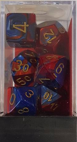 Buy Gemini Blue-Red w/gold Polyhedral 7-Die Set in AU New Zealand.