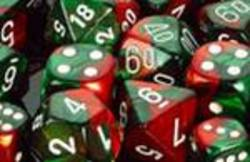 Buy Gemini Green-Red w/white Polyhedral 7-Die Set in AU New Zealand.