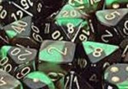 Buy Gemini Black-Green w/gold Polyhedral 7-Die Set in AU New Zealand.