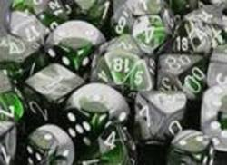 Buy Gemini Green-Steel w/white Polyhedral 7-Die Set in AU New Zealand.