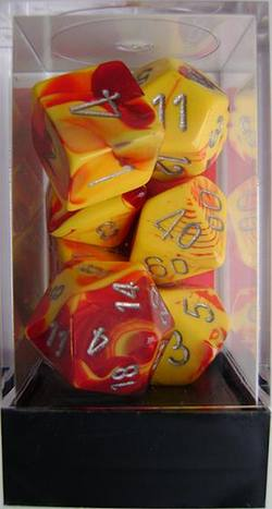 Buy Gemini Red-Yellow w/silver Polyhedral 7-Die Set in AU New Zealand.