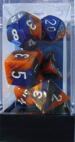 Buy Gemini Blue-Orange w/white Polyhedral 7-Die Set in AU New Zealand.