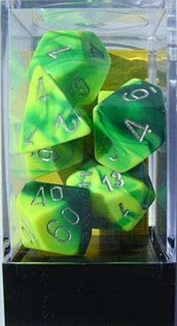 Buy Gemini Green-Yellow w/silver Polyhedral 7-Die Set in AU New Zealand.