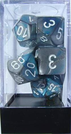 Buy Gemini Steel-Teal w/white Polyhedral 7-Die Set in AU New Zealand.