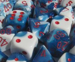 Buy Gemini Astral Blue-White w/Red Polyhedral 7-Die Set in AU New Zealand.