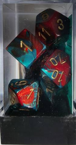 Buy Gemini Red-Teal w/gold Polyhedral 7-Die Set in AU New Zealand.