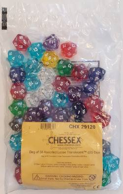 Buy Bag of 50 Transparent Assorted D20's in AU New Zealand.